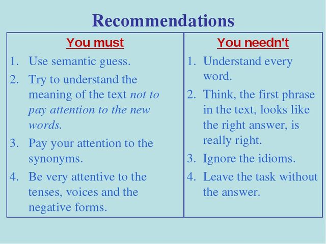 Recommendations You must Use semantic guess. Try to understand the meaning of...
