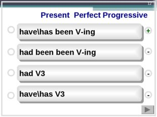 Present Perfect Progressive have\has been V-ing had been been V-ing had V3 h