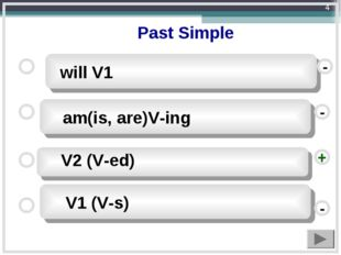 - - + - will V1 V1 (V-s) am(is, are)V-ing V2 (V-ed) Past Simple *