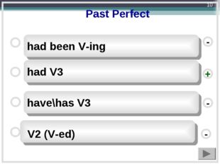 Past Perfect had V3 have\has V3 had been V-ing - - + - V2 (V-ed) *