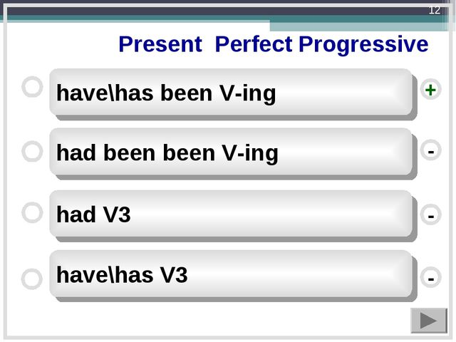 Present Perfect Progressive have\has been V-ing had been been V-ing had V3 h...