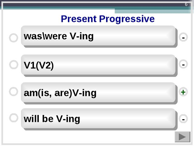 Present Progressive am(is, are)V-ing V1(V2) will be V-ing was\were V-ing - -...