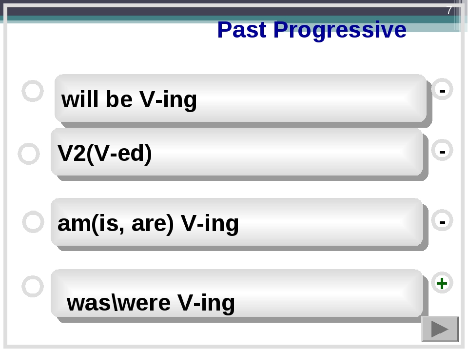 Past Progressive V2(V-ed) am(is, are) V-ing will be V-ing - - + - was\were V...