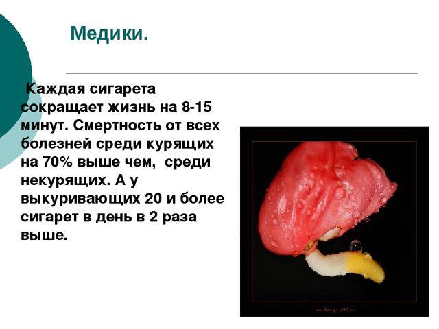 Медики. Каждая сигарета сокращает жизнь на 8-15 минут. Смертность от всех бол...