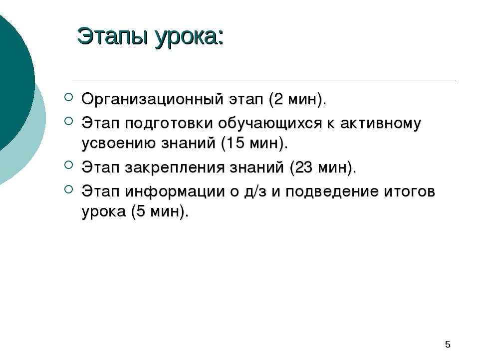 * Этапы урока: Организационный этап (2 мин). Этап подготовки обучающихся к ак...