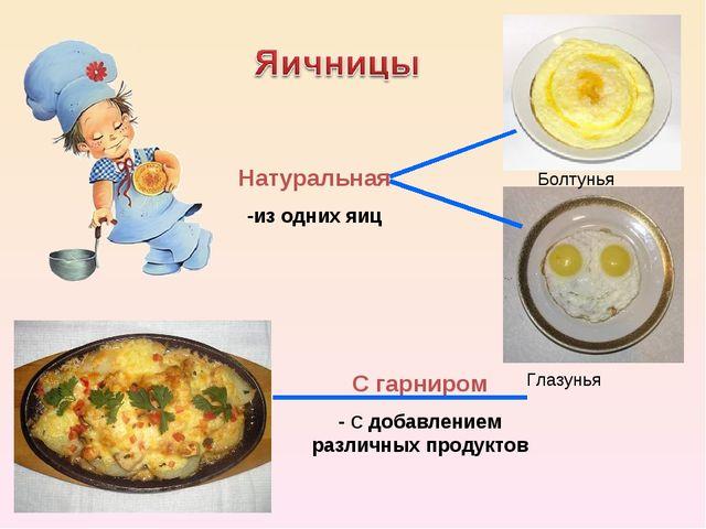 Натуральная -из одних яиц С гарниром - С добавлением различных продуктов Болт...