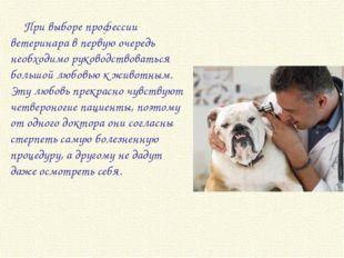 При выборе профессии ветеринара в первую очередь необходимо руководствоваться