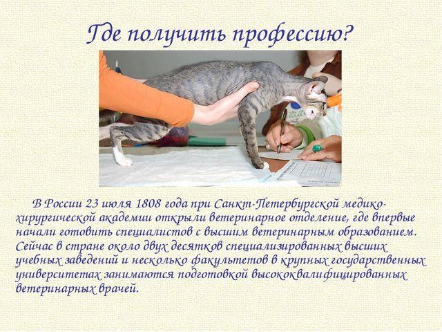 Где получить профессию? В России 23 июля 1808 года при Санкт-Петербургской ме...
