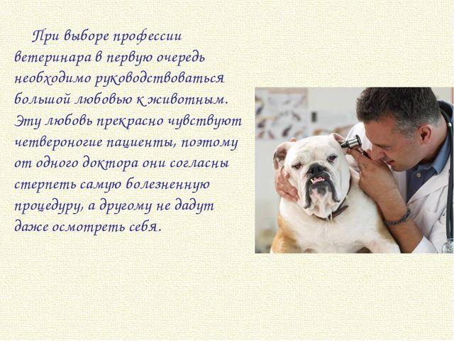 При выборе профессии ветеринара в первую очередь необходимо руководствоваться...
