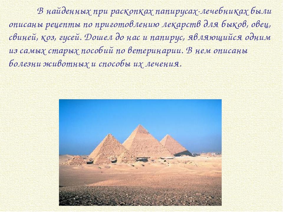 В найденных при раскопках папирусах-лечебниках были описаны рецепты по приго...