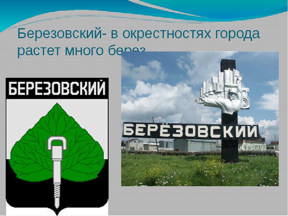 Березовский- в окрестностях города растет много берез.