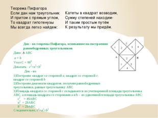 Теорема Пифагора Если дан нам треугольник И притом с прямым углом, То квадрат