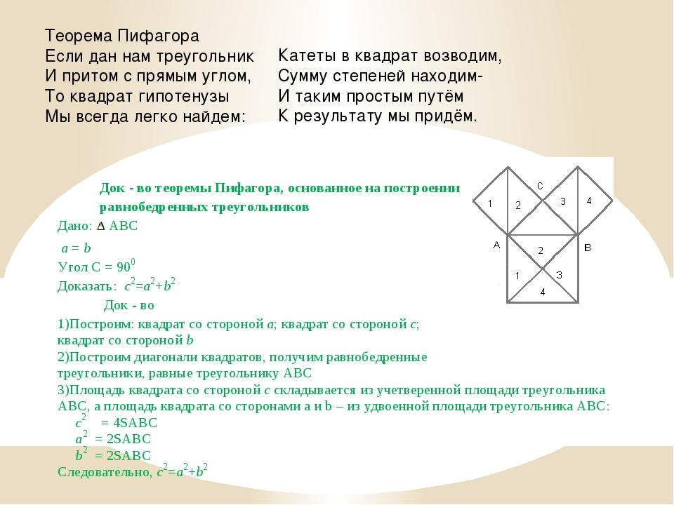 Теорема Пифагора Если дан нам треугольник И притом с прямым углом, То квадрат...