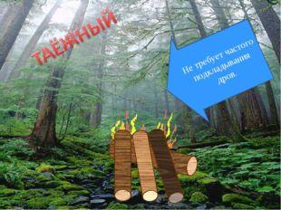 Не требует частого подкладывания дров.