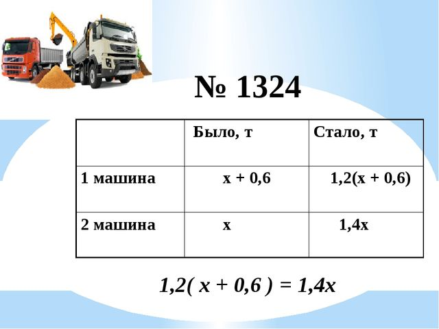 № 1324 1,2( х + 0,6 ) = 1,4х Было, т Стало, т 1 машина х + 0,6 1,2(х + 0,6)...