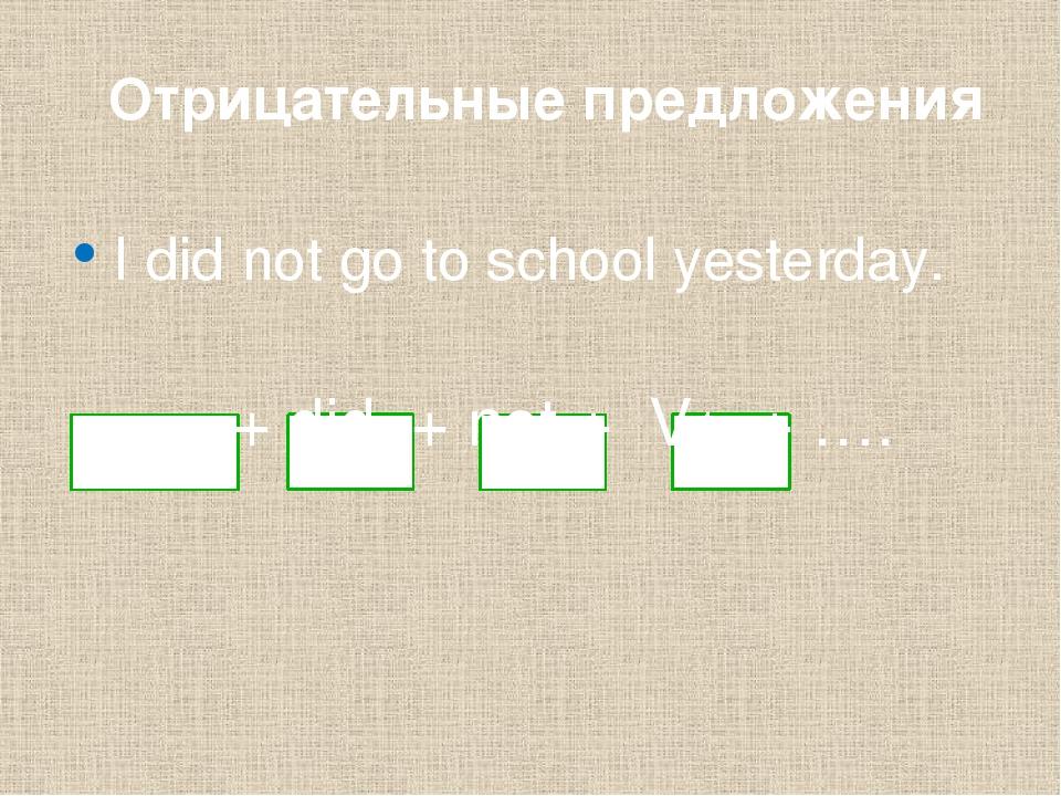 Отрицательные предложения I did not go to school yesterday. ___ + did + not...