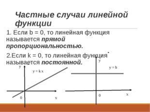 Частные случаи линейной функции 1. Если b = 0, то линейная функция называется