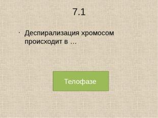 7.1 Деспирализация хромосом происходит в … Телофазе