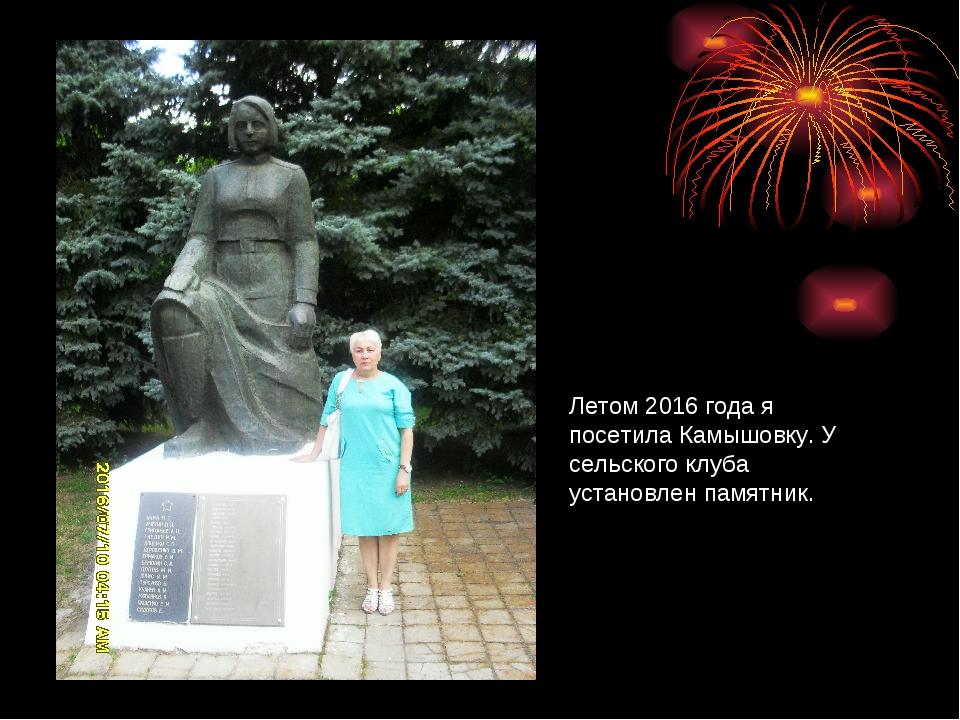Летом 2016 года я посетила Камышовку. У сельского клуба установлен памятник.