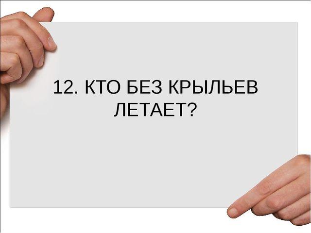12. КТО БЕЗ КРЫЛЬЕВ ЛЕТАЕТ?