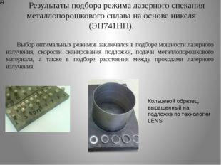 Результаты подбора режима лазерного спекания металлопорошкового сплава на осн