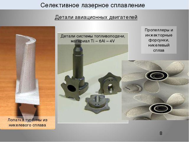 Селективное лазерное сплавление 8 Детали авиационных двигателей Лопатка тур...
