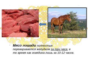 Мясо лошади полностью переваривается желудком за три часа, в то время как гов