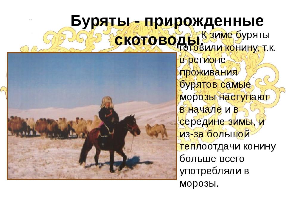 Буряты - прирожденные скотоводы. К зиме буряты готовили конину, т.к. в регио...
