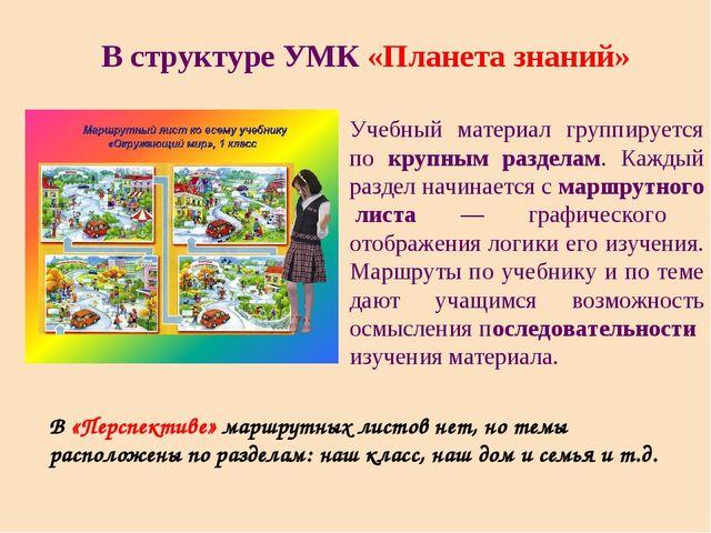 В структуре УМК «Планета знаний» Учебный материал группируется по крупным раз...