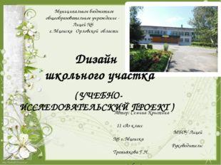 Дизайн школьного участка ( УЧЕБНО- ИССЛЕДОВАТЕЛЬСКИЙ ПРОЕКТ ) Муниципальное б
