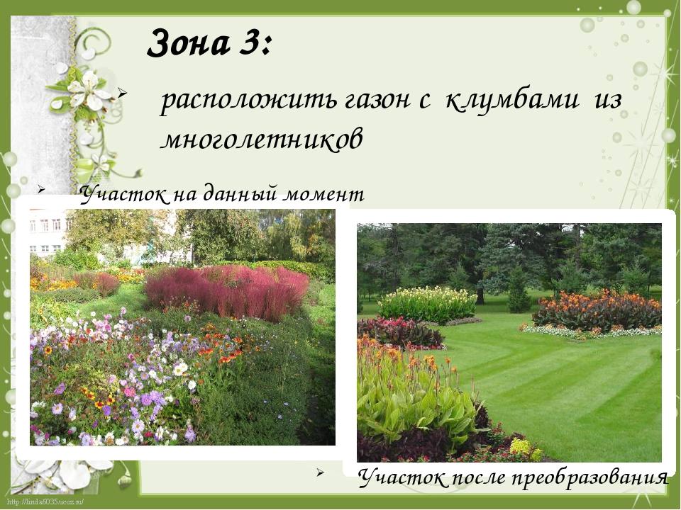 Зона 3:  расположить газон с клумбами из многолетников Участок на данный мом...