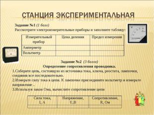 Задание №1 (1 балл) Рассмотрите электроизмерительные приборы и заполните таб