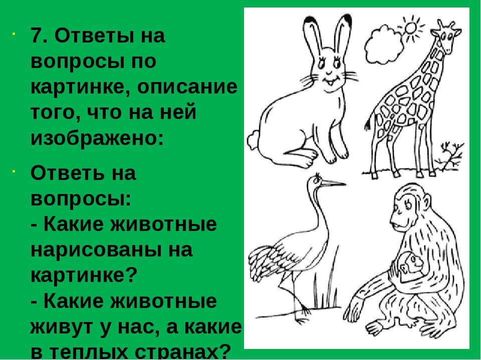 7. Ответы на вопросы по картинке, описание того, что на ней изображено: Отве...