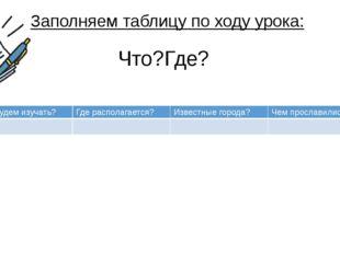 Что?Где? Заполняем таблицу по ходу урока: Чтобудем изучать? Где располагается