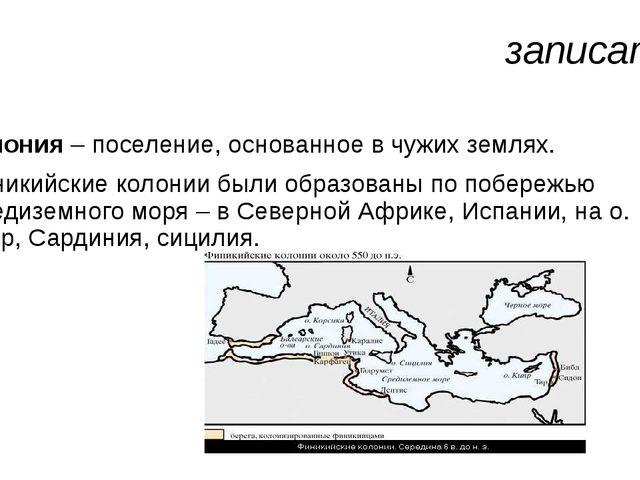 записать Колония – поселение, основанное в чужих землях. Финикийские колонии...