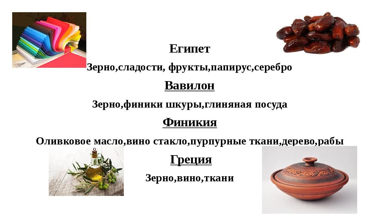 Египет Зерно,сладости, фрукты,папирус,серебро Вавилон Зерно,финики шкуры,глин...