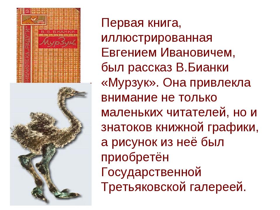 Первая книга, иллюстрированная Евгением Ивановичем, был рассказ В.Бианки «Мур...