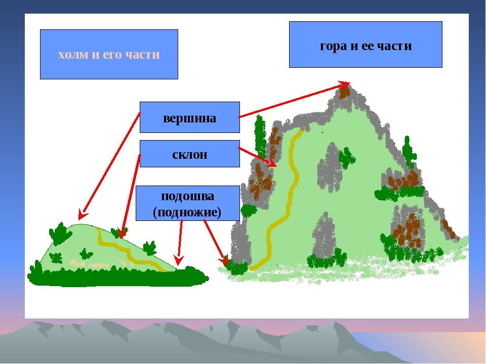 Холм и его части гора и ее части холм и его части холм и его части гора и ее...