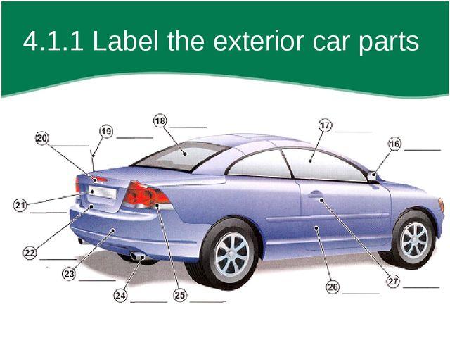 4.1.1 Label the exterior car parts
