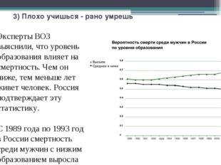 3) Плохо учишься - рано умрешь Эксперты ВОЗ выяснили, что уровень образования