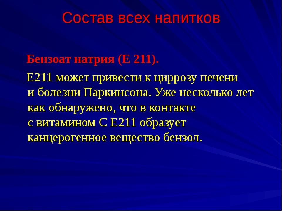 Состав всех напитков Бензоат натрия (Е 211). Е211 может привести кциррозу пе...