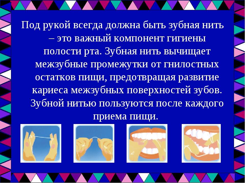Под рукой всегда должна быть зубная нить – это важный компонент гигиены полос...