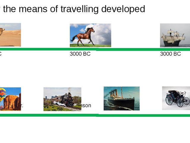 How the means of travelling developed 2000 BC 3000 BC 3000 BC 1782 1814 1821...