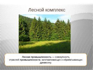 Лесной комплекс Лесная промышленность— совокупность отраслейпромышленности,