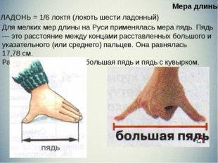 ЛАДОНЬ = 1/6 локтя (локоть шести ладонный) Для мелких мер длины на Руси при