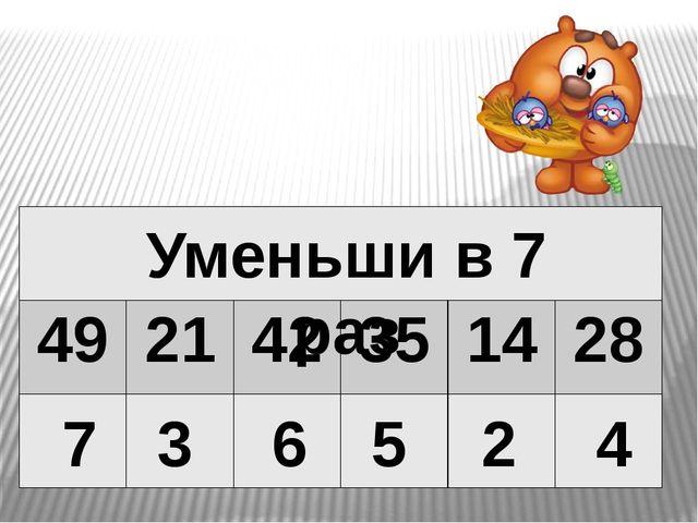 7 3 6 5 2 4 Уменьши в 7 раз 49 21 42 35 14 28