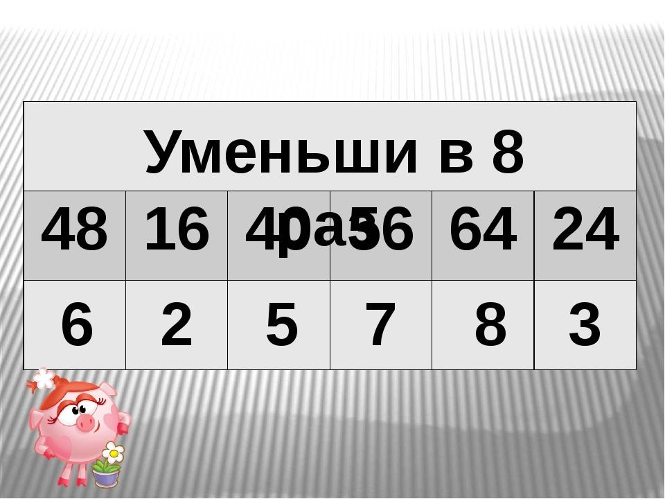 6 2 5 7 8 3 Уменьши в 8 раз 48 16 40 56 64 24