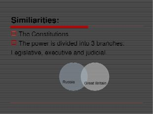 Similiarities: The Constitutions The power is divided into 3 branches: Legisl