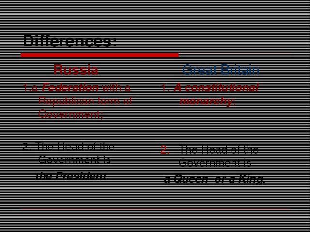 Differences: Russia 1.a Federation with a Republican form of Government; 2. T...