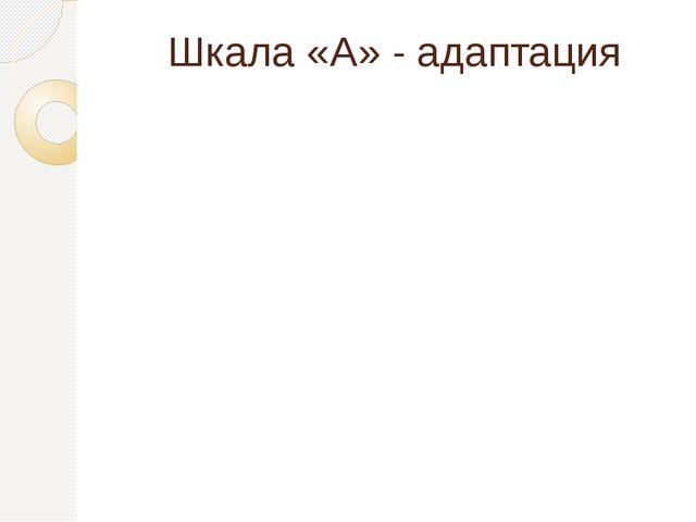 Шкала «А» - адаптация